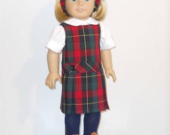 School Uniform sized for the American Girl Doll Plaid #66