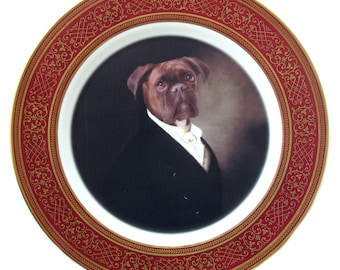 Portrait of Brutus the Boxer Plate 10.75""