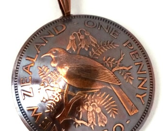 Unique Copper Bird Pendant, New Zealand Coin Jewelry New Zealand Necklace Bird Jewelry Bronze Coin Jewelry Bird Necklace Pendant or Keychain