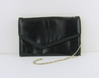 Sale Vintage 1980s Black Envelope Clutch Purse w/ Long Strap