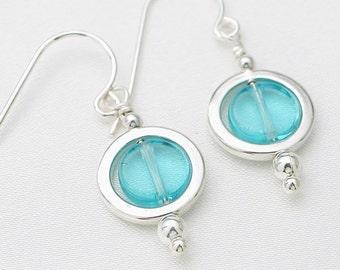 Circles earrings - aquamarine