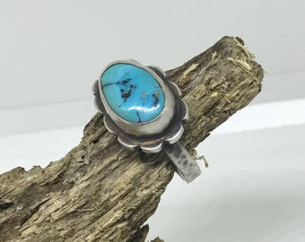 Genuine Turquoise Sterling Silver Ring, Size 7.5, Southwest, Boho, Sterling Silver Ring, Silver Ring, Blue Turquoise, 7.5