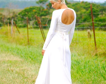 SAMPLE SALE - Long Sleeve Fitted Back Cut Out Maxi Dress - Several Colors Available - Organic Wedding Dress