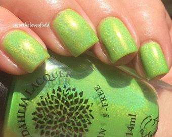 Neon Highlighter Green Jelly Holo Nail Polish Black Dahlia Lacquer - Cactus Flower