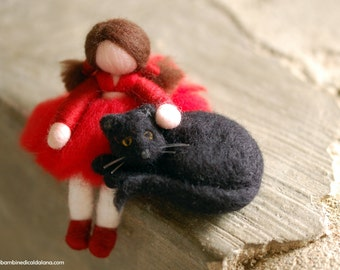 Girl and cat tale, wool, Waldorf inspired