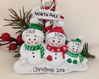 3 Snowmen at North Pole Personalized Christmas ornament / 3 snowmen / Snowman family ornament