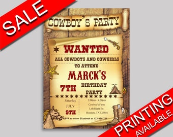 Cowboy Birthday Invitation Cowboy Birthday Party Invitation Cowboy Birthday Party Cowboy Invitation Boy vintage cowboy wanted boy GU9YQ