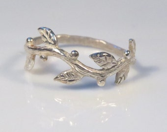 Silver twig ring, tree branch ring, Silver organic ring, nature inspired twig jewelry