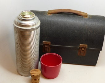 Vintage Tin Lunch Box with Matching Thermos - Miner's Lunch Box - Industrial Lunch Box - American Thermos Bottle Lunch Box
