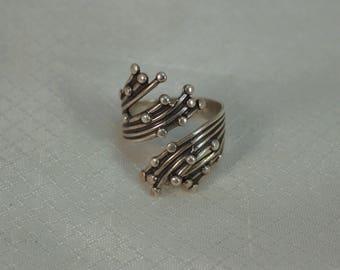 1960's BEAU Sterling, Modernist Molten Silver Adjustable Ring