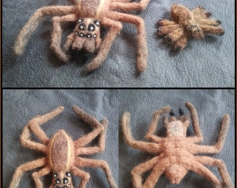 Felted Wool Wolf Spider Pair - Needle Felted Arachnids