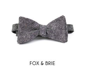 Charcoal Chambray Bow Tie
