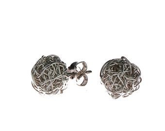"Stud earrings ""Nina""  Knitted silverballs."