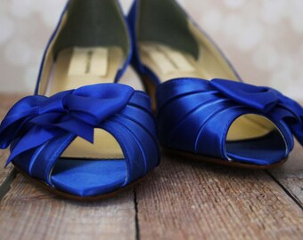 Wedding Shoes -- Royal Blue Peep Toe Kitten Heel Wedding Shoes with Off Center Matching Bow on the Toe