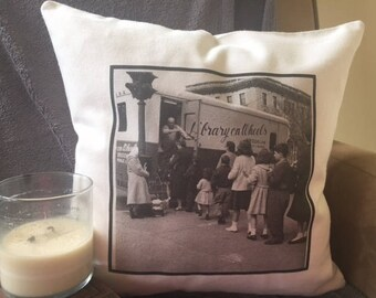book lover decorative throw pillow cover, brooklyn bookmobile, library on wheels, book nook pillow