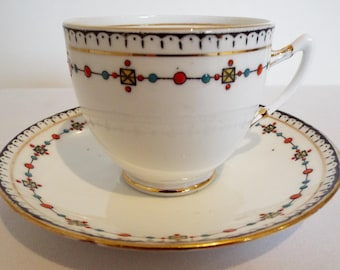 Vintage Royal Albert Teacup and Saucer. 1920s White Tea Cup With Hand Painted Jewel Pattern. Perfect for An Afternoon Tea Party Or As A Gift