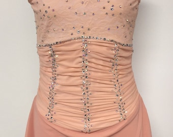 Adult Medium peach figure skating dress