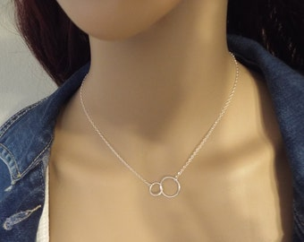 Karma Double Circle Necklace Sterling Silver Eternity Two Circles Necklace Infinity Karma 925 Jewelry dainty silver necklace