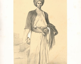 Coptic scribe - copy of illustration by Alexandre Bida from French publication 'Souvenirs d'Egypte' 1851