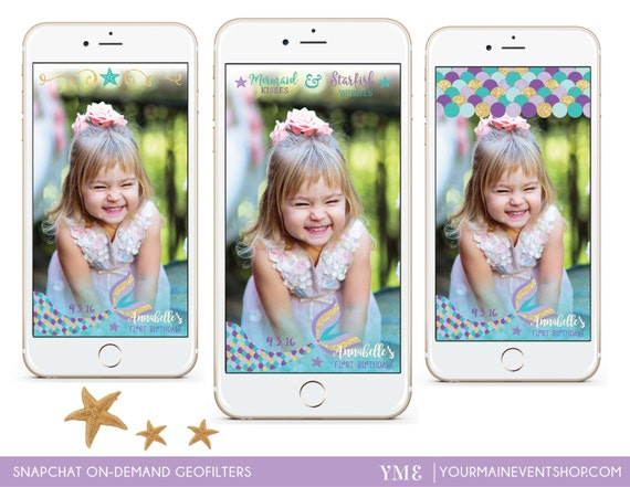 Mermaid Birthday Snapchat Geofilter Personalized Custom Mermaid Party On Demand Geo Filter For Snapchat