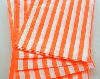 Set of 25 - Traditional Sweet Shop Orange Stripe Paper Bags - 10x14 New Style