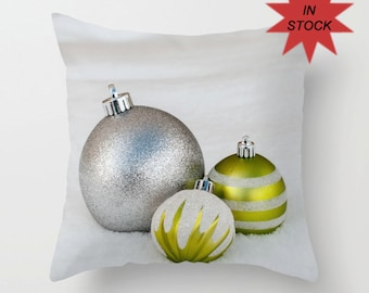 Chartreuse Holiday Pillow Case, Christmas Ornament Cushion Cover, Silver Holiday Throw Cushion Case, Festive Den Chair Accent, Office Lounge