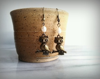 Owl Earrings, Freshwater Pearl, Vintage Inspired, Woodland, Gift for Her, by ktnunna