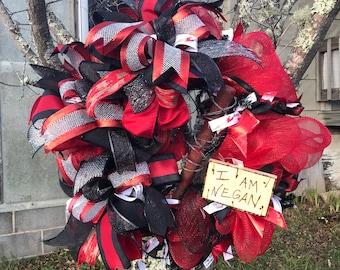 The Walking Dead Negan Lucille I Am Negan Deco Mesh Wreath Door Hanging Wall Hanging Red Black Wreath Baseball Bat Wreath