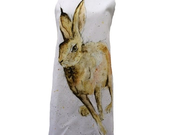 Hare Apron - 100% Cotton Apron, Hugo, Woodland, Country Kitchen, Made in the UK, Housewarming Gift, Birthday Gift