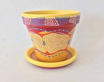"6"" Hand Painted Flower Pot"