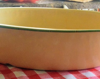 Vintage Enamelware Basin, Green and Tan