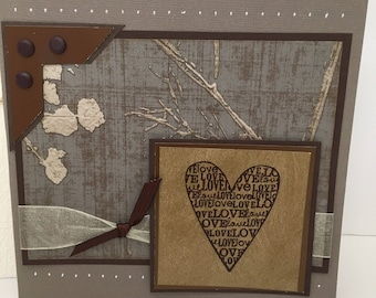 Wedding handmade card, congratulations heart card, artistic handmade card