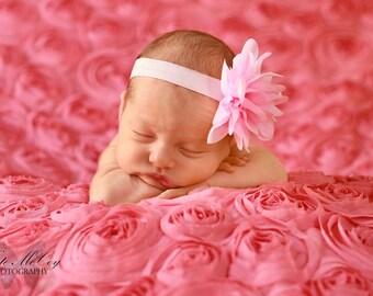 Baby headband, infant headband, newborn headband, pink flower headband, photo prop, pink chiffon flower on headband