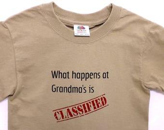 Militärische Humor T-shirt / klassifiziert oben geheime Humor / Khaki grün / lustige Kinder T-shirt