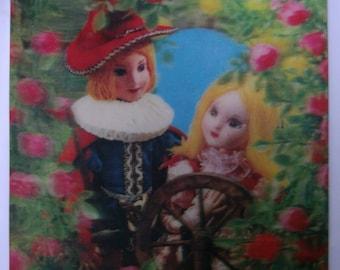 Vintage Sleeping Beauty. Book cover. 3D. Froebel Kan. Kawaii.Rare.1970s.Vintageillustration.Fairy tale.Japan.Princess.Craft supply.To frame.