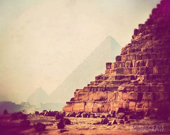 Egyptian art, landscape photography, dreamy travel photograph, fine art, pyramid, neutral, archaeology - Mystique