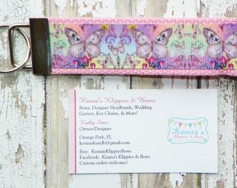 Butterflies Key Chain, Butterfly Key Chain, Butterfly Wristlet, Butterfly Key Fob, Purple Pink  Key Chain, Watercolor, Birthday Gift Idea