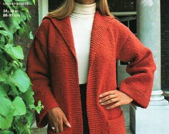 "womens long jacket & hat knitting pattern ladies cardigan long line cap 1970s 34-38"" chunky boucle pdf instant downlaod"