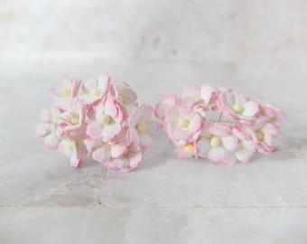 20 15mm white pink mulberry paper hydrangea