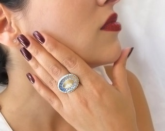 Big statement ring - Gold and silver cokctail ring, Oval ring