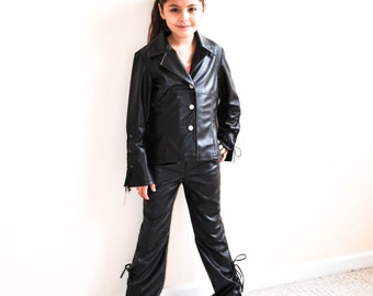 Kid's Rocker Faux Leather Suit, Rock n Roll Costume