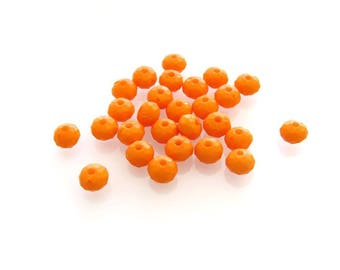 X 30 acrylic faceted beads orange 5 mm