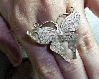 Butterfly mixed metal ring Silver ring Handmade ring with butterfly Ring with etching OOAK ring Brass and copper ring on silver band