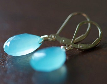 Aqua Blue Chalcedony Teardrop Briolette Earrings, Wire Wrapped, 14K Gold Filled Sterling Silver
