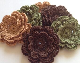 Crochet Flowers - 6 Three Layer Thread Flowers