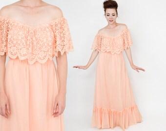 70s Peach Boho Peasant Dress | Lace Top Off Shoulder Maxi Dress | Small