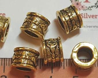 8 pieces a pack of 10x8mm 6mm diameter printed Large Hole Beads Antique Gold Lead Free Pewter