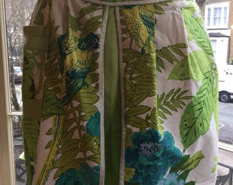 Beautifully made tropical birds pinny - 1970s/60s ?