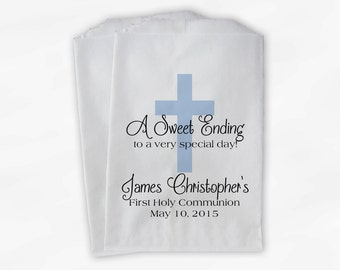 First Communion Favor Bags - Baptism or Religious Party Custom Favor Bags - Set of 25 Baby Blue Paper Treat Bags (0073)