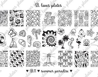 B.11 - summer paradise - nail stamping plates (B. Loves Plates ) - tropical